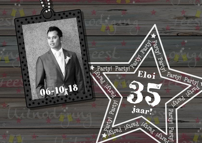 Uitnodigingen - Verjaardag man hout biertje ster