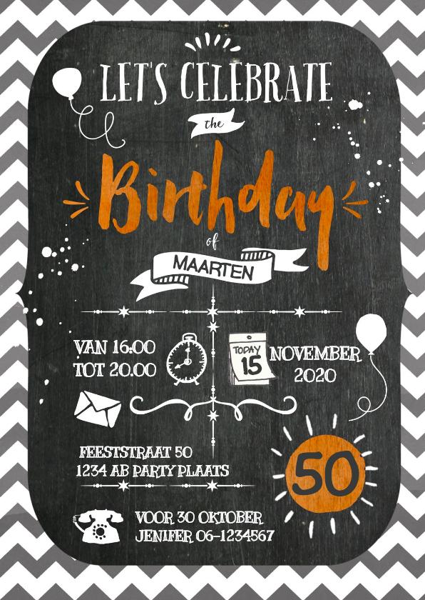 Uitnodigingen - Verjaardagfeest Chevron Krijt