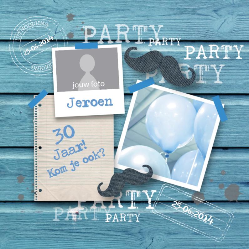 Uitnodigingen - Verjaardagsfeest Party Man