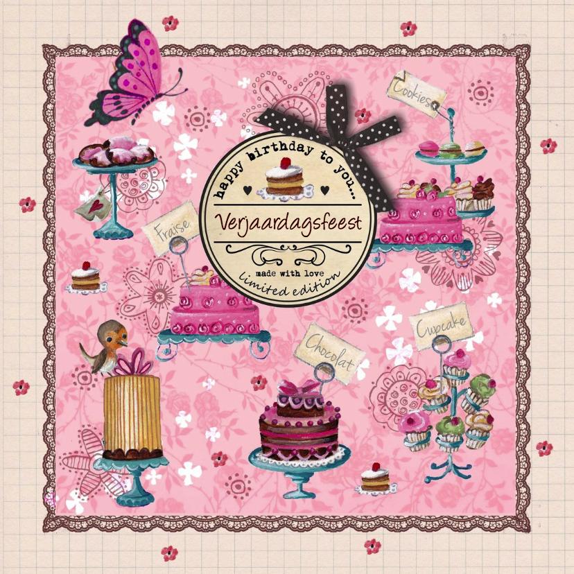 Uitnodigingen - Verjaardagsfeest Roze Strepen Cupcake