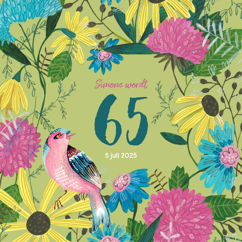 Uitnodigingen - Verjaardagsfeestje 65 jaar bloemen en vogel
