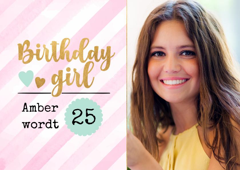 Uitnodigingen - Verjaardagsuitnodiging waterverf strepen