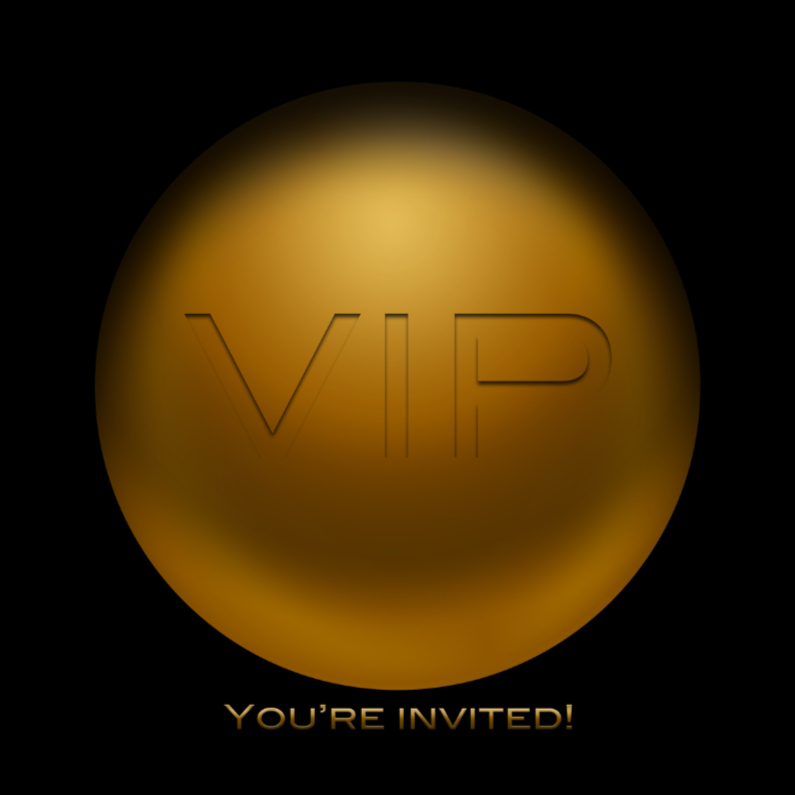 Uitnodigingen - VIP invited goud RB