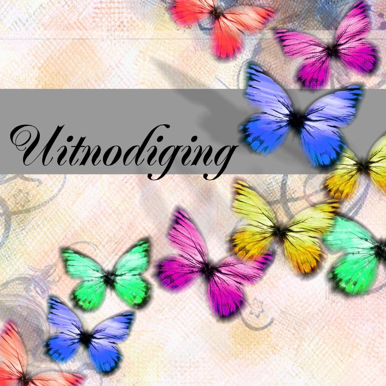 Uitnodigingen - Vlinders uitnodiging