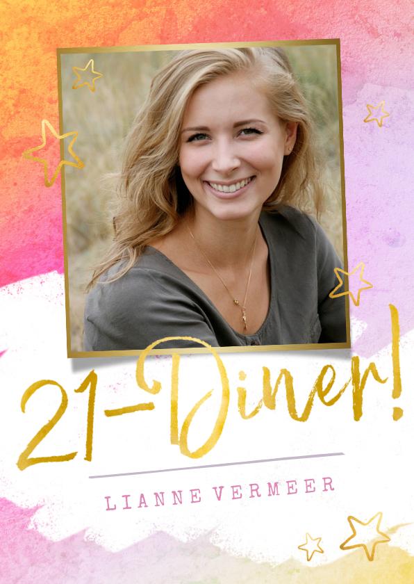 Uitnodigingen - Vrolijke 21-diner uitnodiging met waterverf en goud en foto