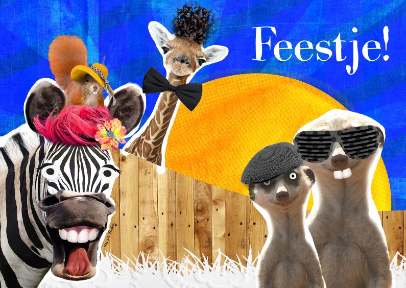 Uitnodigingen - Vrolijke dieren uitnodiging