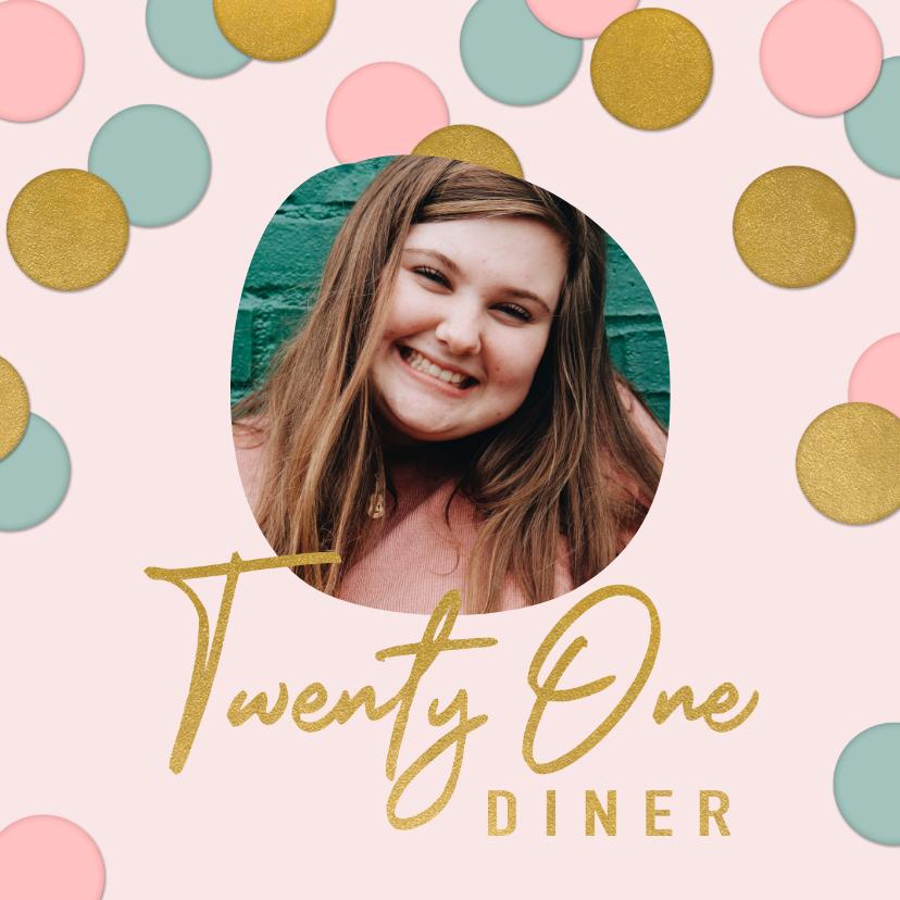 Uitnodigingen - Vrolijke uitnodiging 21 diner confetti, foto en typografie