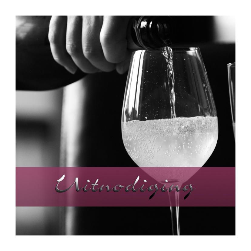 Uitnodigingen - wijnglas feest sfeervol a