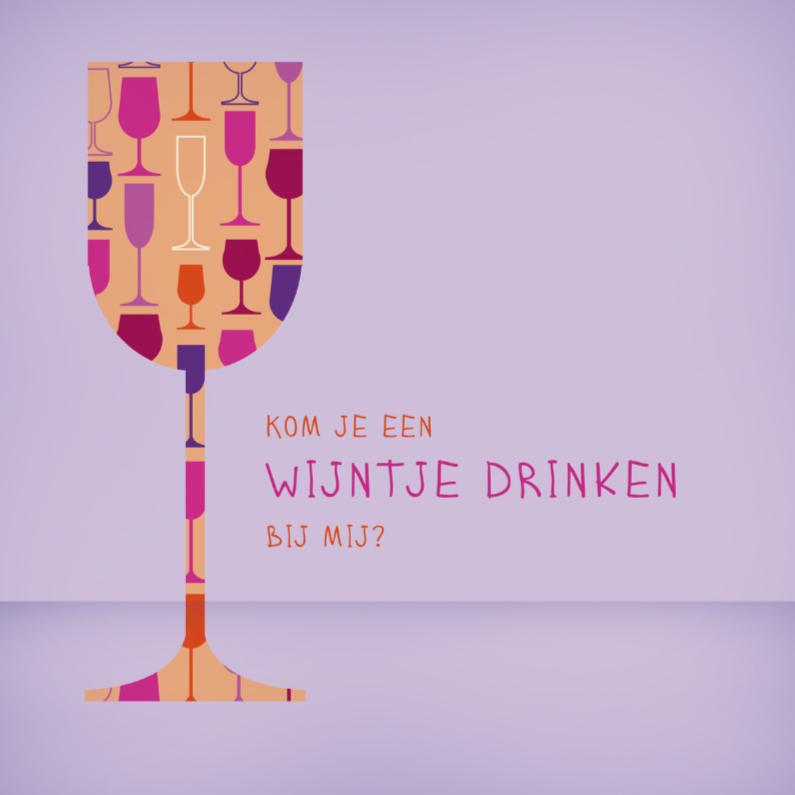 Uitnodigingen - Wijntje glas 2