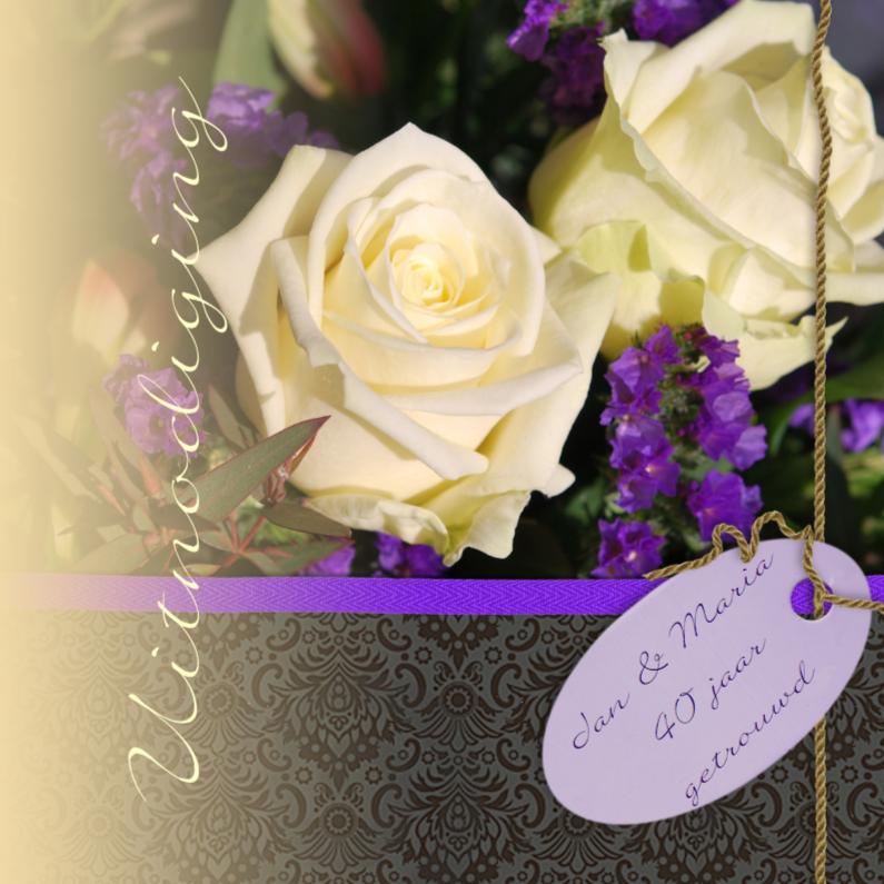 Uitnodigingen - Witte rozen met paars zwart