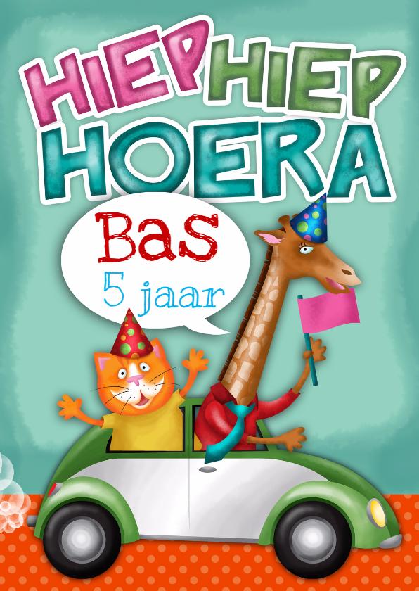 Uitnodigingen - YVON straat giraf auto verjaardagskaart