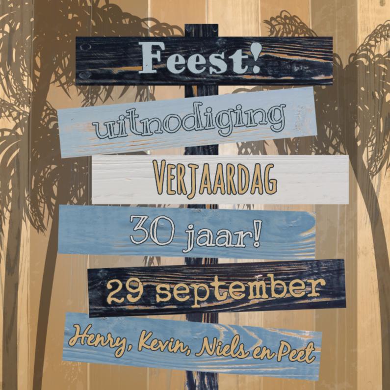 Uitnodigingen - zomerse uitnodiging palm borden