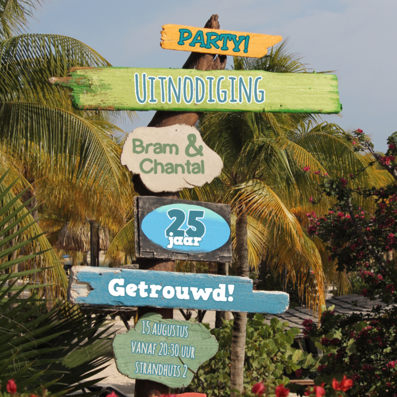 Uitnodigingen - Zomerse uitnodiging palm hout