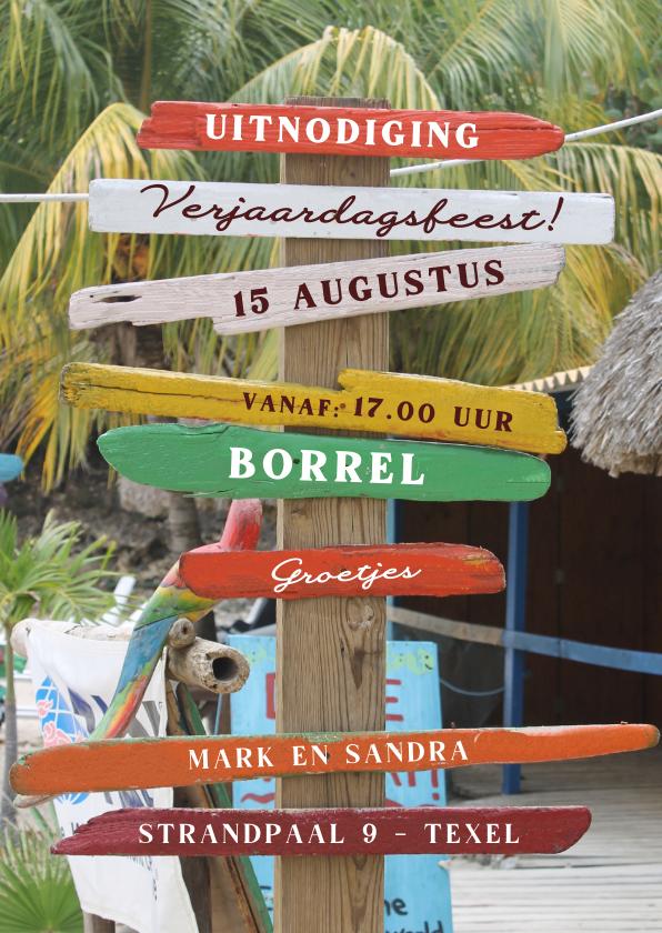 Uitnodigingen - Zomerse uitnodiging strand palmbomen