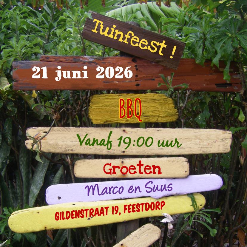 Uitnodigingen - Zomerse uitnodiging TUINFEEST BBQ