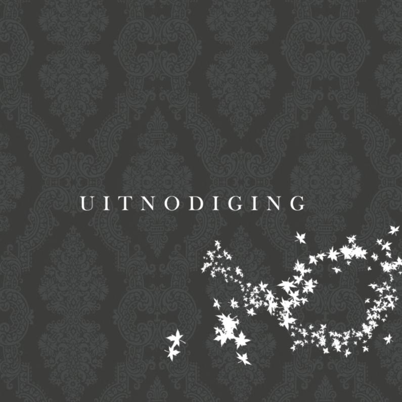 Uitnodigingen - Zwart behang met bladeren