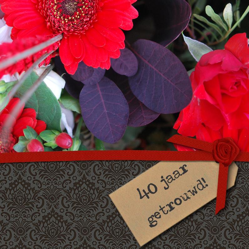 Uitnodigingen - Zwart structuur label foto bloem