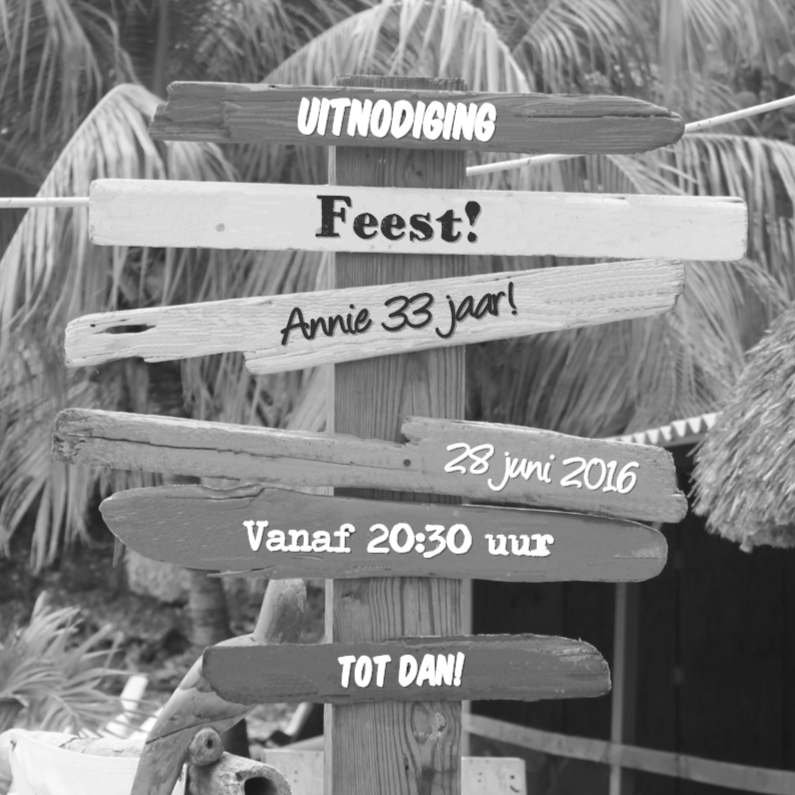 Uitnodigingen - Zwart wit uitnodiging strand palmbomen