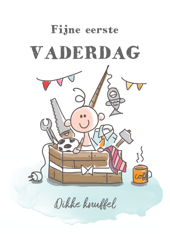 Vaderdag kaarten - Eerste vaderdagkaart met jongen in kist met kado's voor papa