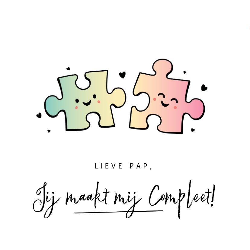 Vaderdag kaarten - Grappige vaderdagkaart met 2 puzzelstukjes - maakt compleet