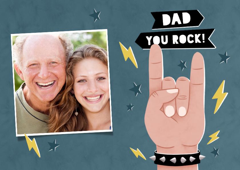 Vaderdag kaarten - Leuke vaderdag kaart Dad you rock met sterren en eigen foto