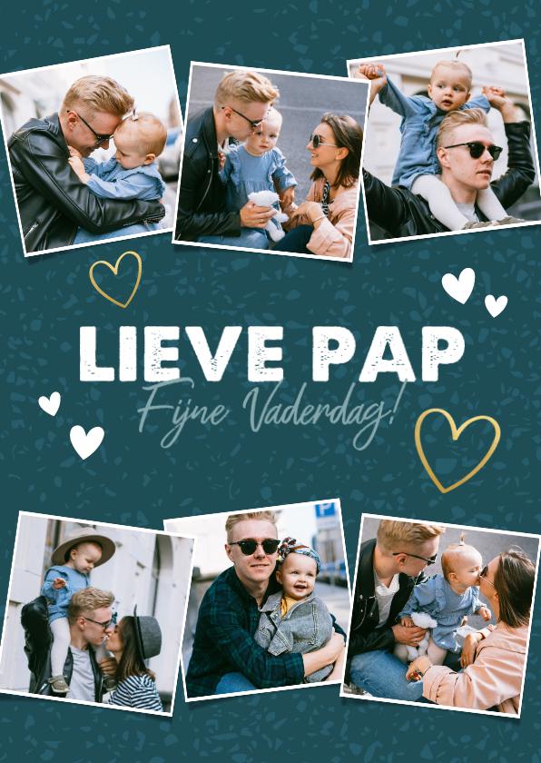Vaderdag kaarten - Leuke vaderdag kaart fotocollage met hartjes fijne vaderdag