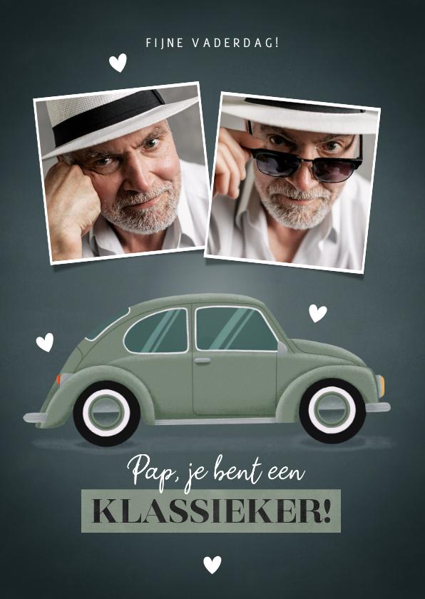 Vaderdag kaarten - Leuke Vaderdag kaart met klassieke auto foto's en hartjes