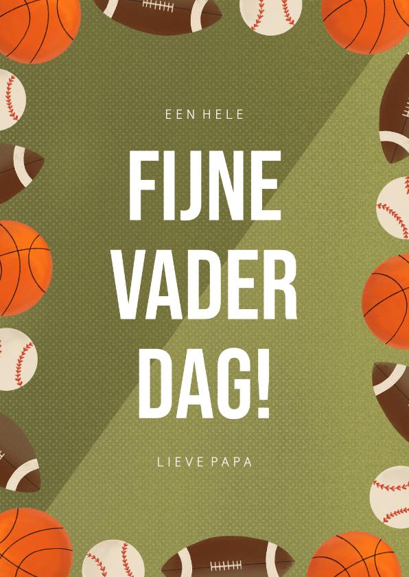 Vaderdag kaarten - Sportieve vaderdagkaart met ballen groen sportveld en tekst