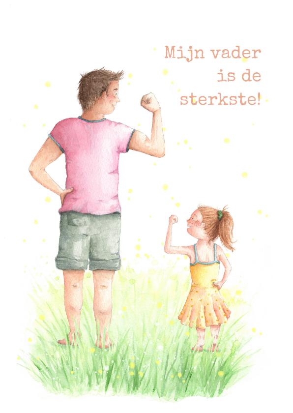 Vaderdag kaarten - Sterke papa met dochter