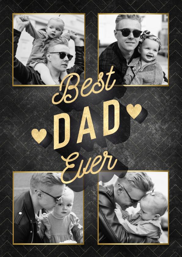Vaderdag kaarten - Stijlvolle vaderdag kaart Best Dad Ever fotocollage