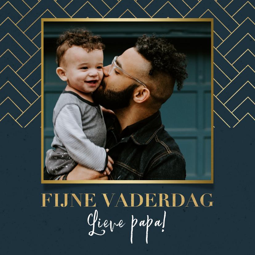 Vaderdag kaarten - Stijlvolle vaderdag kaart met foto, blauw en gouden patroon