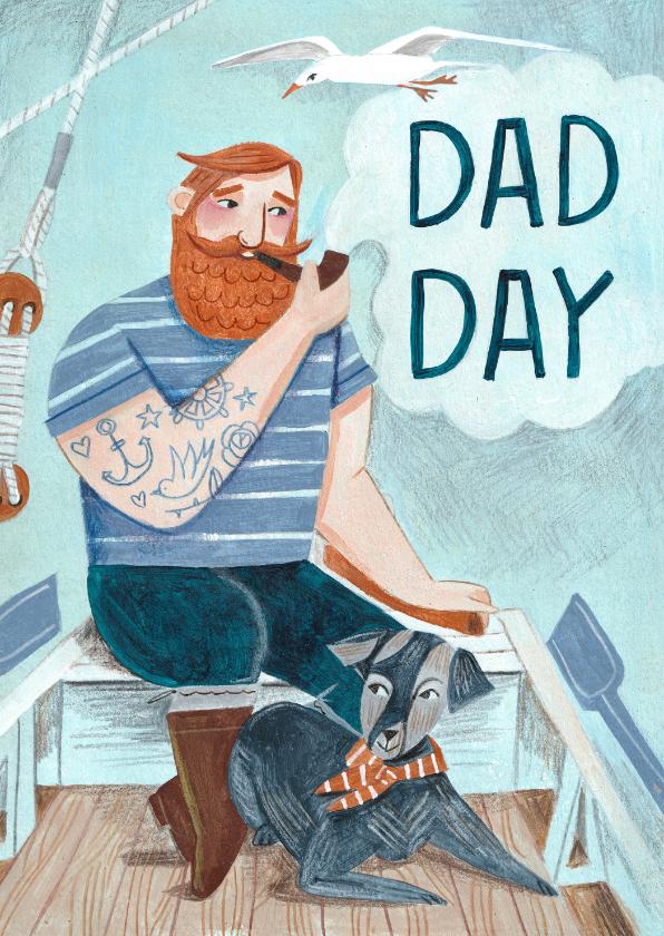 Vaderdag kaarten - Stoere vaderdag kaart met een zeebonk en een hond