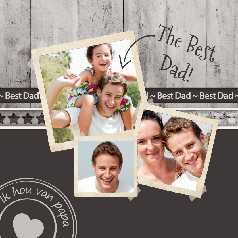Vaderdag kaarten - Vaderdag antraciet the best dad!
