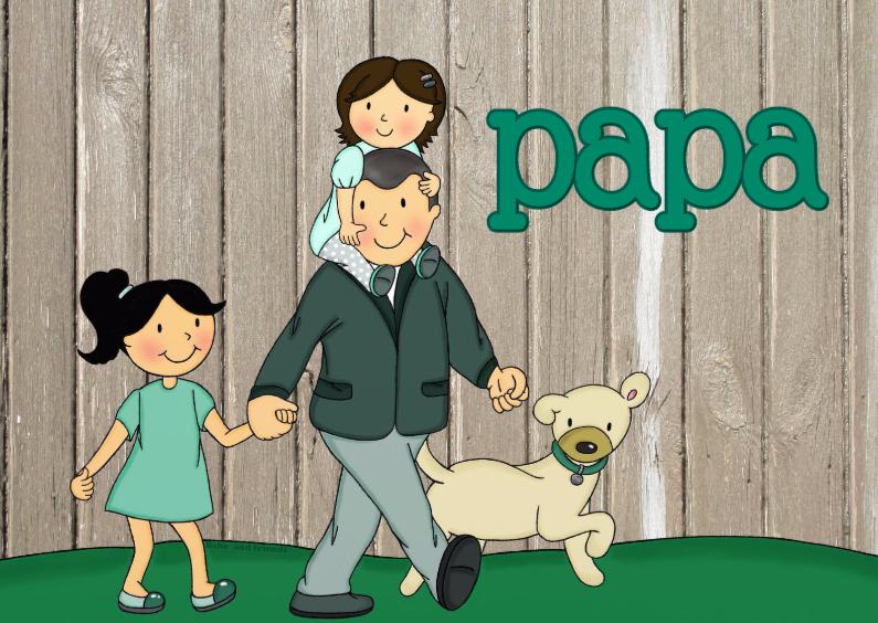 Vaderdag kaarten - Vaderdag Dochters en hond - TbJ