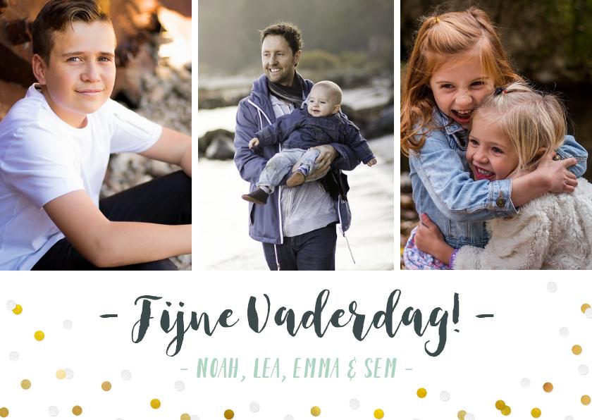 Vaderdag kaarten - Vaderdag fotokaart met 3 foto's, confetti en namen