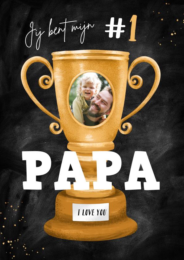 Vaderdag kaarten - Vaderdag kaart beste papa nummer 1 beker foto