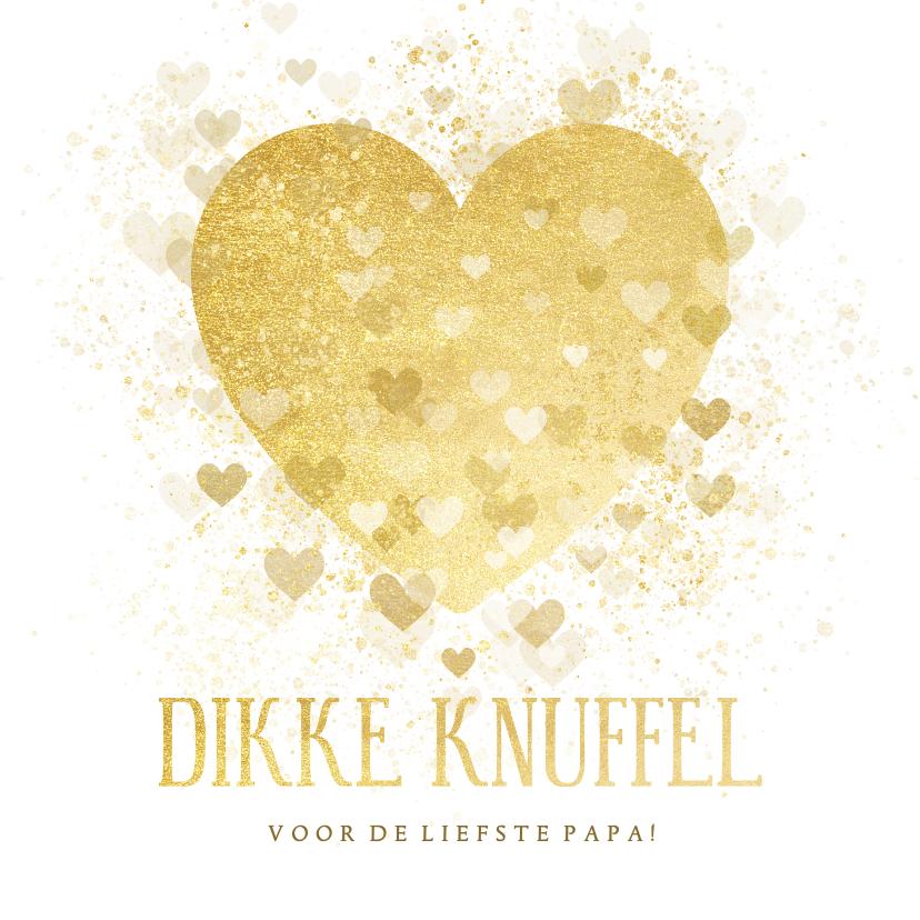 Vaderdag kaarten - Vaderdag kaart dikke knuffel gouden hart