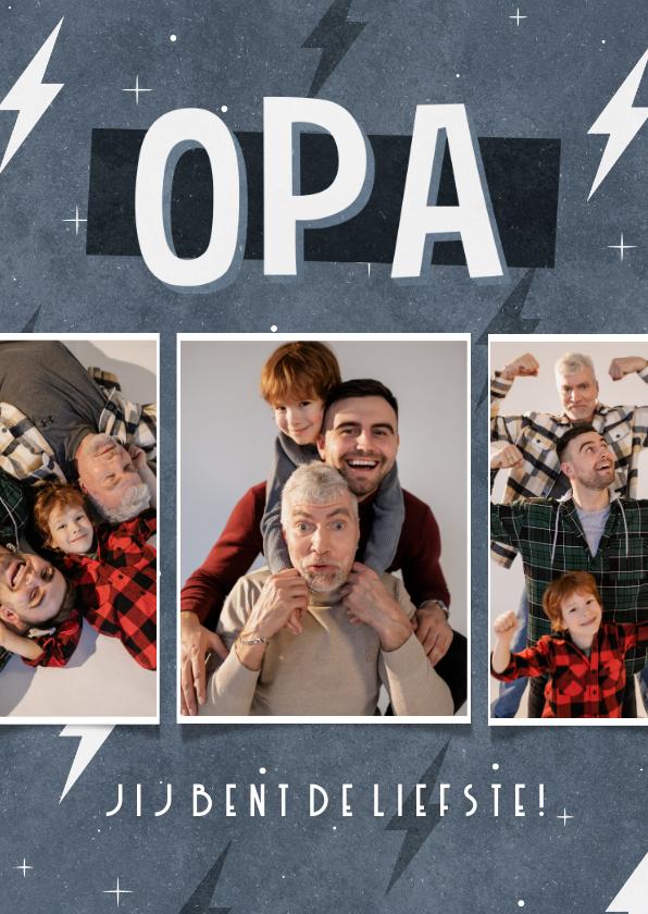 Vaderdag kaarten - Vaderdag kaart fotocollage stoer opa jij bent de liefste
