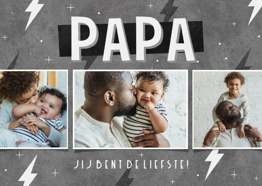 Vaderdag kaarten - Vaderdag kaart fotocollage stoer papa jij bent de liefste