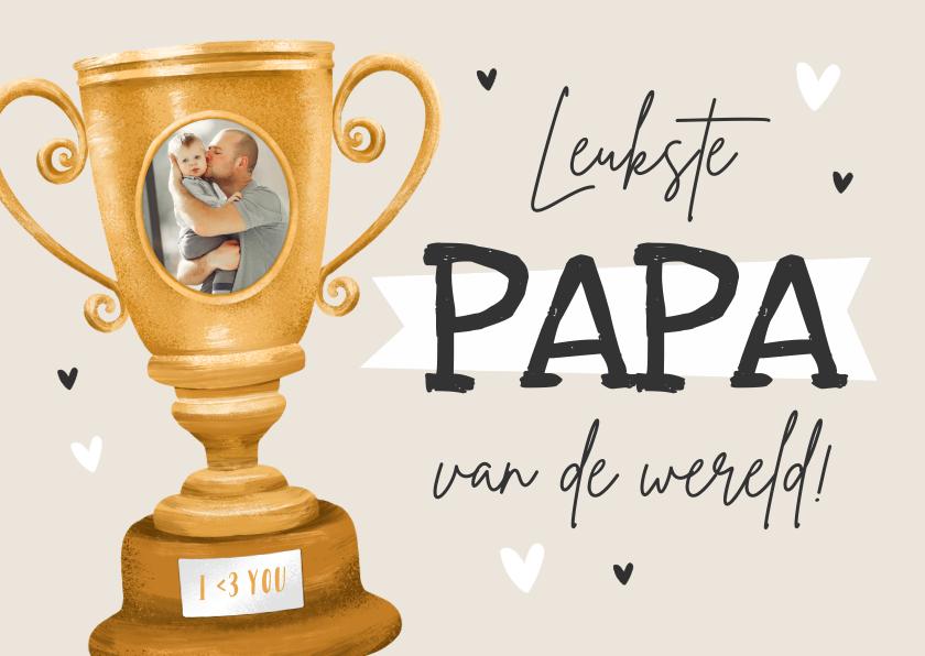 Vaderdag kaarten - Vaderdag kaart kampioen leukste papa van de wereld beker
