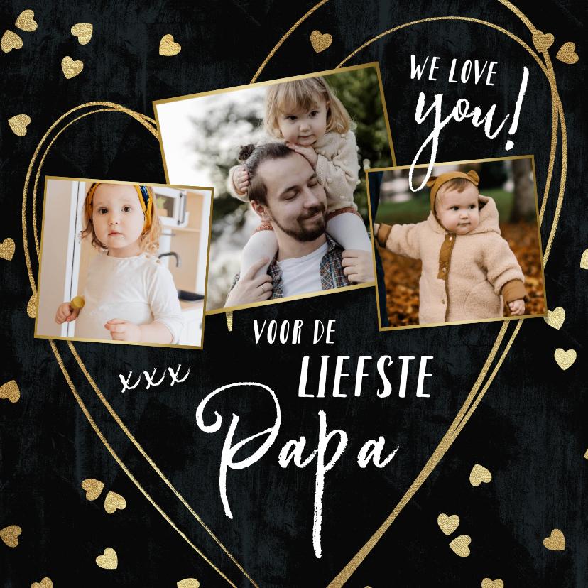 Vaderdag kaarten - Vaderdag kaart met fotocollage en hartjes confetti in goud