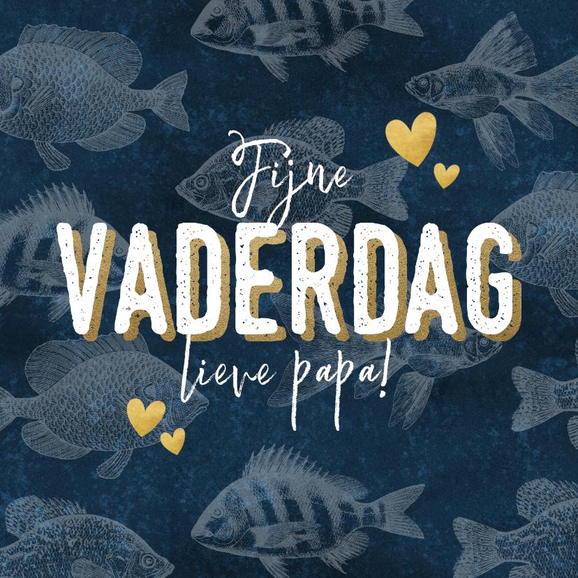 Vaderdag kaarten - Vaderdag kaart met vissen patroon 'Fijne vaderdag' & hartjes