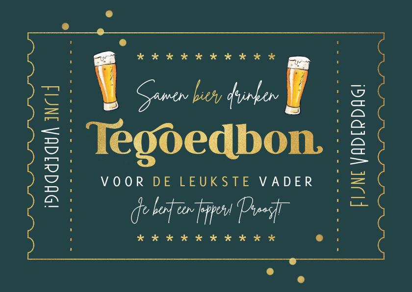 Vaderdag kaarten - Vaderdag kaart retro tegoedbon bier goud