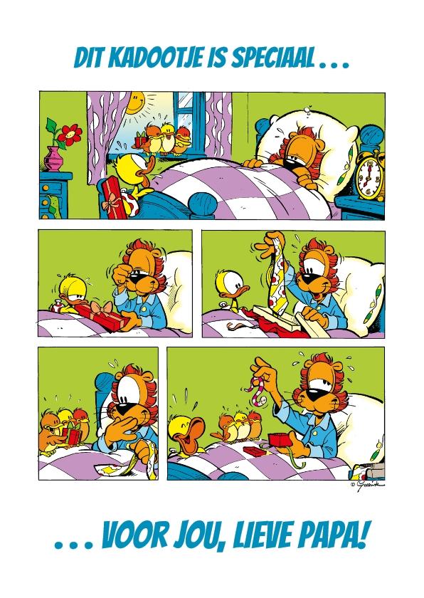 Vaderdag kaarten - Vaderdag Loeki kado strip op bed - A