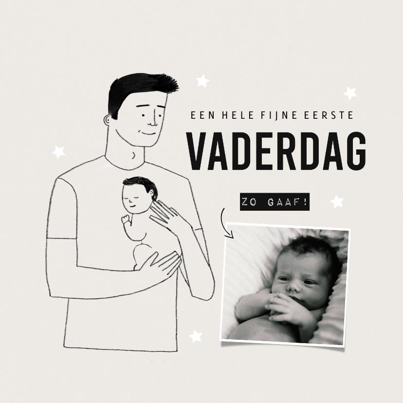 Vaderdag kaarten - Vaderdagkaart eerste vaderdag met foto en portretje