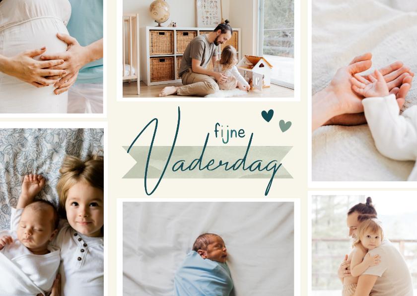 Vaderdag kaarten - Vaderdagkaart fotocollage fijne vaderdag hartjes groen blauw