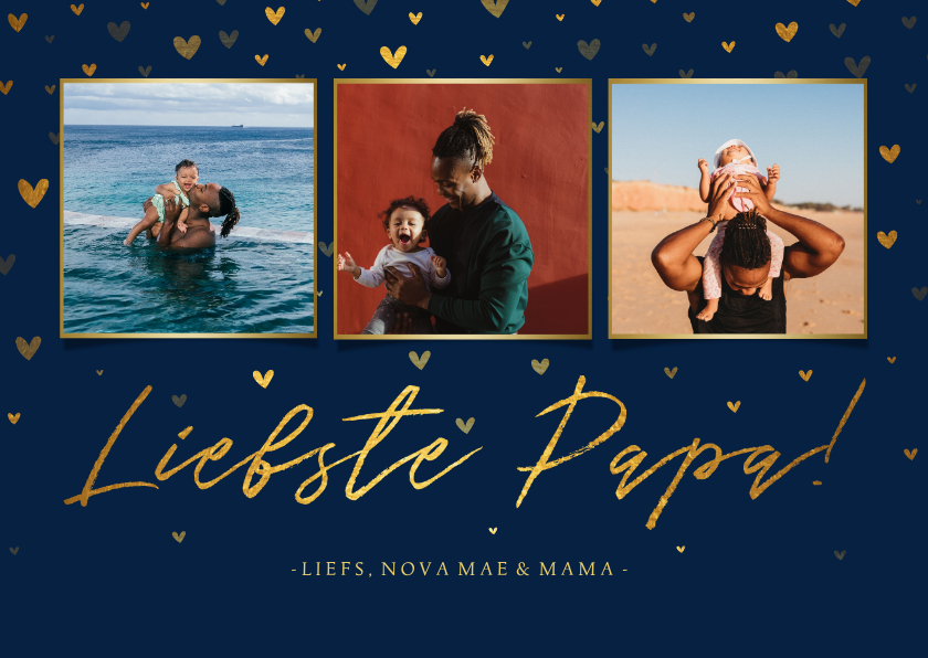 Vaderdag kaarten - Vaderdagkaart fotocollage 'liefste papa!' met hartjes