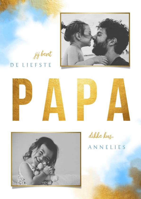 Vaderdag kaarten - Vaderdagkaart gouden 'PAPA' met foto's en waterverf