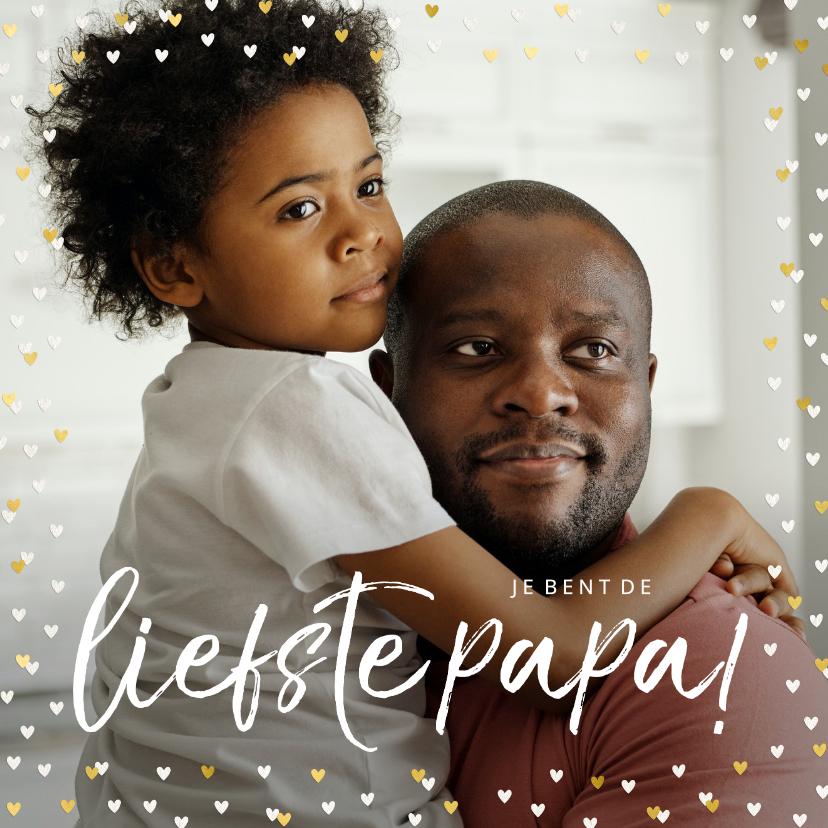Vaderdag kaarten - Vaderdagkaart grote foto met goudlook hartjeskader