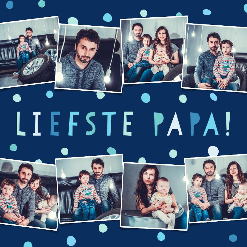 Vaderdag kaarten - Vaderdagkaart 'liefste papa' fotocollage met confetti